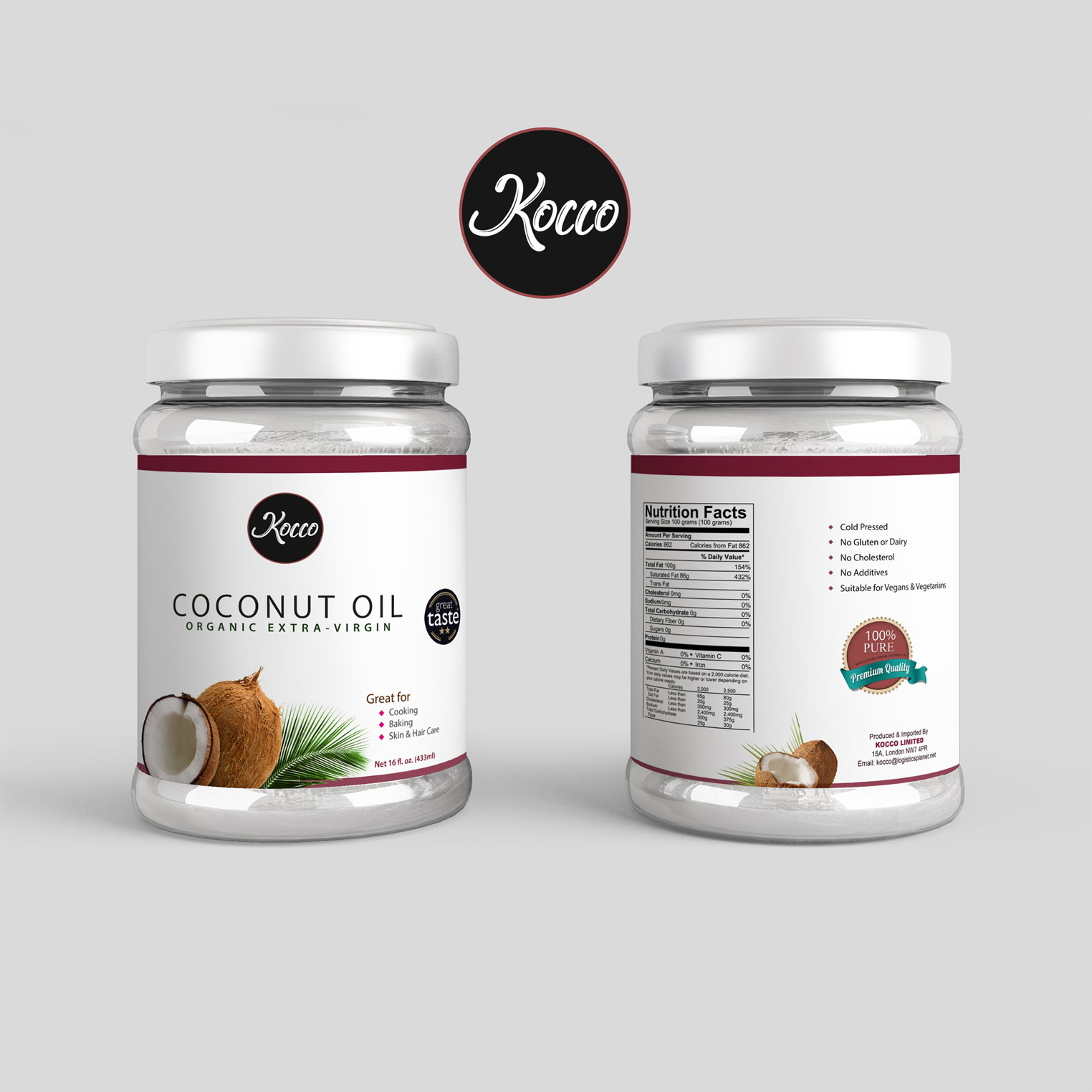 Branding and Product packaging design for kocco coconut oil