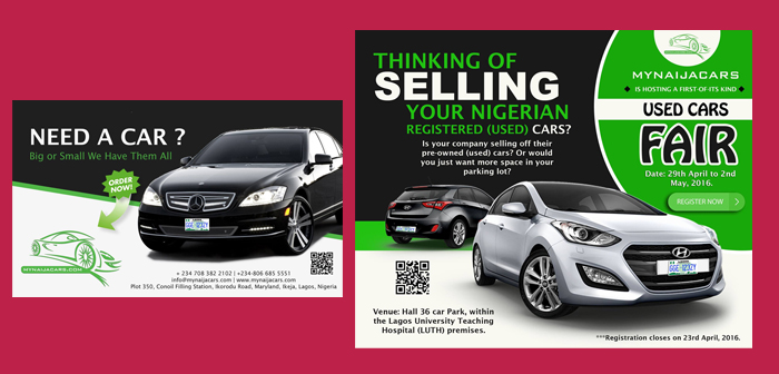 Print Design and Branding for My Naija Cars Used Car Fair Event